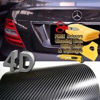 "20 ft x 1 ft Gloss Black 4D Carbon Fiber Vinyl Wrap Bubble Air Free 240"" x 12"""