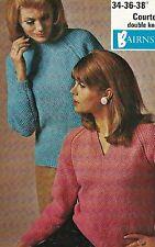 """1757 Ladies DK Textured Jumpers 34-38"""" Vintage Knitting Pattern"""
