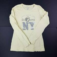 Old Navy Womens Thermal Shirt Yellow New York City Logo Big Apple Long Sleeve XS