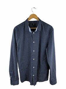 H&M Button Up Shirt Mens Size XL Blue White Dot Slim Fit Long Sleeve Collared