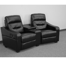 Futura Black Leather Home Theater 2-Seat Recliner Unit with Cup Holders