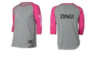 Zumba Party In Pink Baseball Tee - Heather Grey & Pink (men's sizing) XS & Small