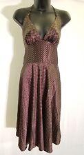 Alyn Paige New York Brown White Polka Dot Dress Women's Halter Size 7 / 8 I42