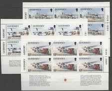 Flugzeuge, Airplane - Guernsey - 3 Heftchenblätter ** MNH 1989
