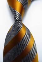 New Classic Striped Gold Black White JACQUARD WOVEN 100% Silk Men's Tie Necktie