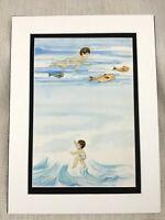Original Aquarell Malerei Ocean Schwimmen Jungen Kinder Buch Illustration
