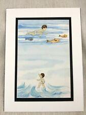 Original Aquarelle Peinture Ocean Nage Garçon Enfants Livre Illustration