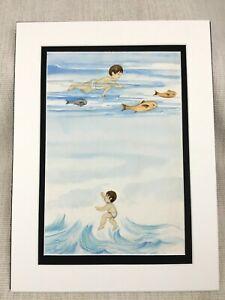 Originale Acquerello Pittura Oceano Nuoto Ragazzo Bambini Libro Illustrazione