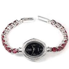 Sterling Silver 925 Genuine Natural Heat Enhanced Deep Pink Ruby Watch 7 Inch