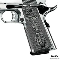 1911 Grips G10 Full Size Ambi Safety Cut Big Scoop Sunburst Texture Black/Grey