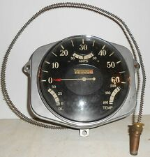 Vtg 5 Gauge Cluster Speedometer Odometer Oil Amp Temp Curved Glass Old Rat Rod