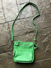 Brahmin Leather Crocodile-Embossed Crossbody purse with storage bag green