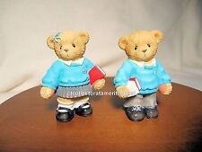 Cherished Teddies British School Boy & Girl 2003 Used No Box