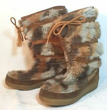 Vintage Quoddy Ladies FUR BOOTS MOCCASINS ~ Rare Brown USA Made Sz. 6 / Women's