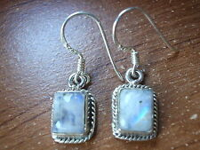 Small Rainbow Moonstone Earrings 925 Sterling Silver Blue Rectangle New