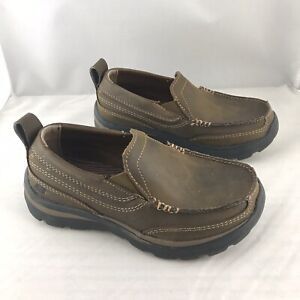 Boys Skechers Brown Leather Slip On Loafer Sz 11  Very Good