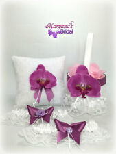 Orchid Purple Butterfly Wedding Ring Pillow & Flower Basket Set & FREE Garter #2