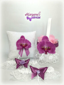Orchid Purple Butterfly Wedding Ring Pillow & Flower Basket Set & FREE Garter #2