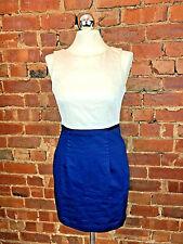 H & M Cream & Blue Stretch Dress - Size 8 Summer Occasion Wedding Formal