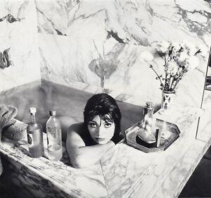 1966 Vintage Nude Female Bathing Wet Marble Bath Woman Butt Photo Wingate Paine