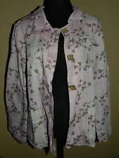 Women's IAN MOSH Pink & Beige Floral Flap-Pocket JACKET New NWT US 12 EU 4