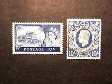 2 Different 10 Shilling Uk / Great Britain Stamps - George Vi & Qe Ii 1930s/50s