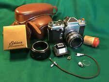 VINTAGE Edixa-Mat KADETT fotocamera 35mm f2.8 50mm cassaron lente, custodia e accessori