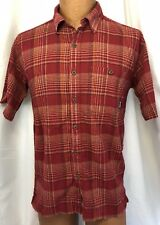 PATAGONIA Mens Red Plaid Textured S/S Button Front Organic Cotton Camp Shirt ~ S