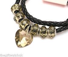 Henley Donna collana o braccialetto, cordino nero, Perle & Cuore sfaccettato, versatile