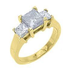 2.5 CARAT WOMENS 3-STONE PAST PRESENT FUTURE DIAMOND RING SQUARE CUT YELLOW GOLD