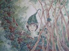 FANTASY Pittura ad Acquerello fantasy bosco Elfo Pixie NATURA realismo ORIGINALE