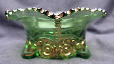 Antique Green Pressed Glass Bead & Scroll Berry Bowl