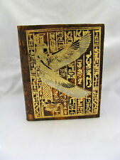 "Egyptian Genuine Leather Brown Phone Address Book Winged Isis 8.25"" # R1"
