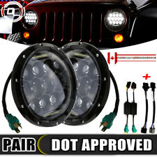 "Fit Jeep 97-2018 Wrangler JK LJ TJ 2x 7"" Round LED Headlight Hi/Lo Beam H4 H13"