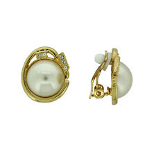 STUNNING BRAND NEW 18K GOLD PLATED AUSTRIAN CRYSTAL AND PEARL CLIP-ON EARRINGS
