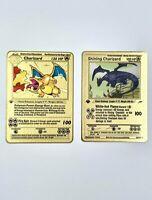 2x Pokemon Shining Charizard Secret Rare Gold Metal Card Base Set 1st Ed 4/102