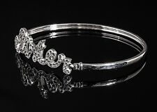 925 Sterling Silver SISTER Bangle Bracelet with Cubic Zirconia & Gift Box