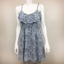 Womens Cotton On Large Black White Speckled Print Dress Ruffle L Sleeveless
