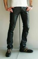 Men's Real Leather Trouser Biker Motorcycle Jeans Pant Black Cow Hide