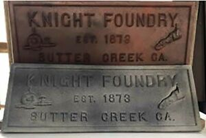 Knight Foundry Simulated Cast Iron Plaque in Rust or Aluminum Finish