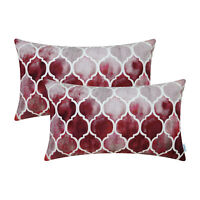 """2Pcs Grey Red Burgundy Cushion Cover Bolster Pillow Shell Colorful Chains 12x20"""""""