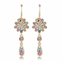 GOLD Multi-Color Drop Dangle Earrings Made with SWAROVSKI CRYSTALS