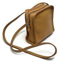 COACH Bellini Tan Leather Small Square Cross Body Bag Zipper Closure DOD - 9139
