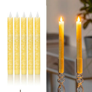 5er Set LED Stabkerzen Tafelkerzen aus Echtwachs, inkl Timer, Gelb marmoriert