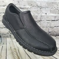 Clarks Collection Vanek Step Men's Size 8.5 Black Pebbled Leather Slip-On Shoes