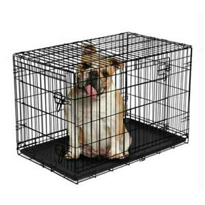 Dog Crate With Divider Double Door Folding Wire Removable Tray Easy To Assemble