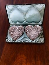 - (2) SUPERB HOWARD & CO. COIN SILVER HEART SHAPED TRAYS IN ORIGINAL BOX