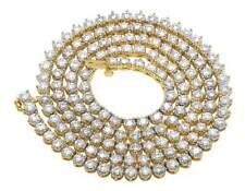 10K Yellow Gold Genuine Diamond Martini Prong Tennis Chain Necklace 12Ct 4MM