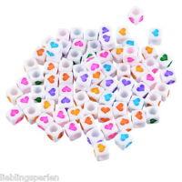 L/P 300 Mix Acryl Weiß Buchstaben Perlen Spacer Beads Mehrfarbig Herz 6mmx6mm
