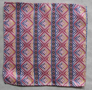Hankie SILK Pocket Square Handkerchief MENS Hanky BLUE PINK GOLD STRIPED